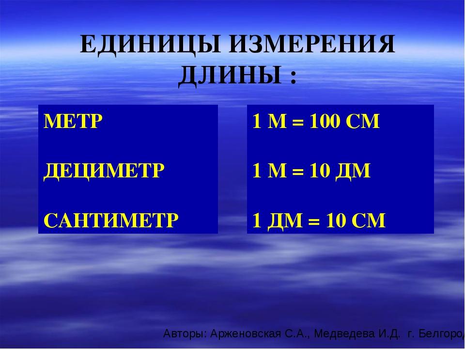 ЕДИНИЦЫ ИЗМЕРЕНИЯ ДЛИНЫ : 1 М = 100 СМ 1 М = 10 ДМ 1 ДМ = 10 СМ МЕТР ДЕЦИМЕТР...
