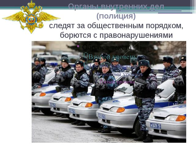 Органы внутренних дел (полиция) следят за общественным порядком, борются с пр...