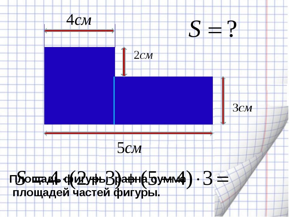 Площадь фигуры равна сумме площадей частей фигуры.