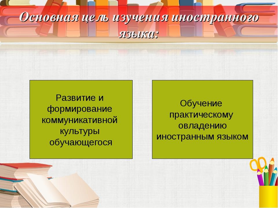 Основная цель изучения иностранного языка: Развитие и формирование коммуникат...