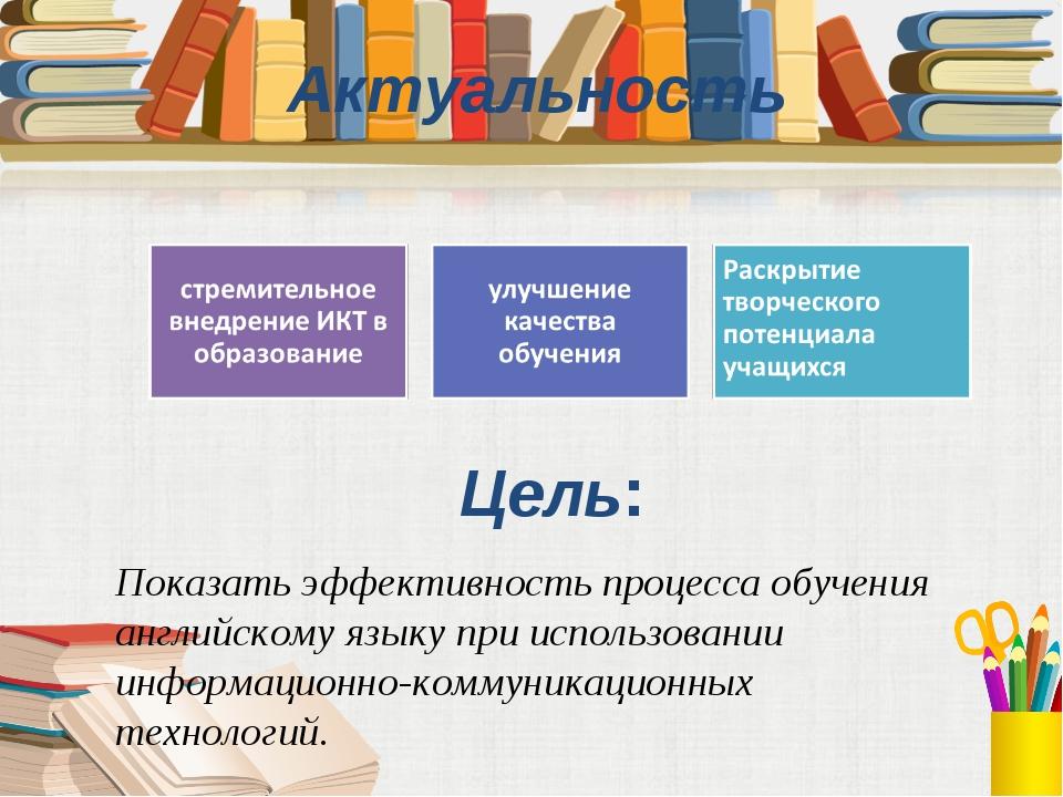 Цель: Актуальность Показать эффективность процесса обучения английскому языку...