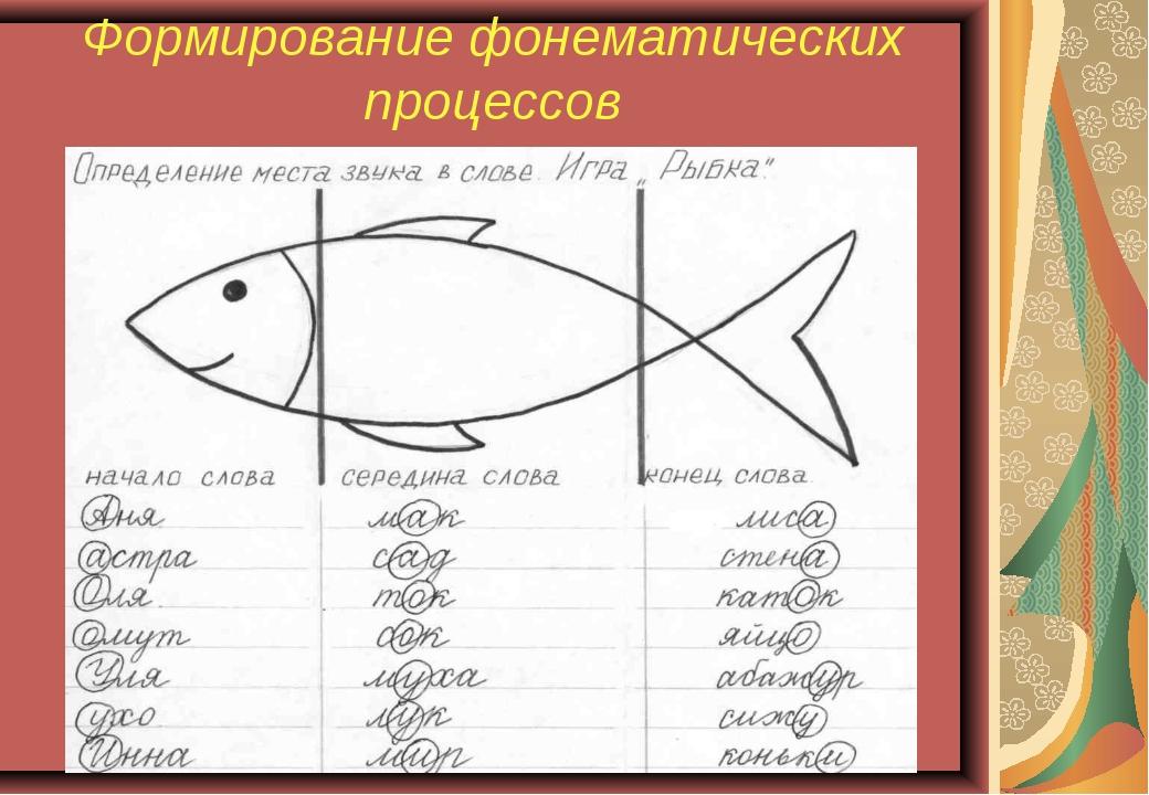 Формирование фонематических процессов