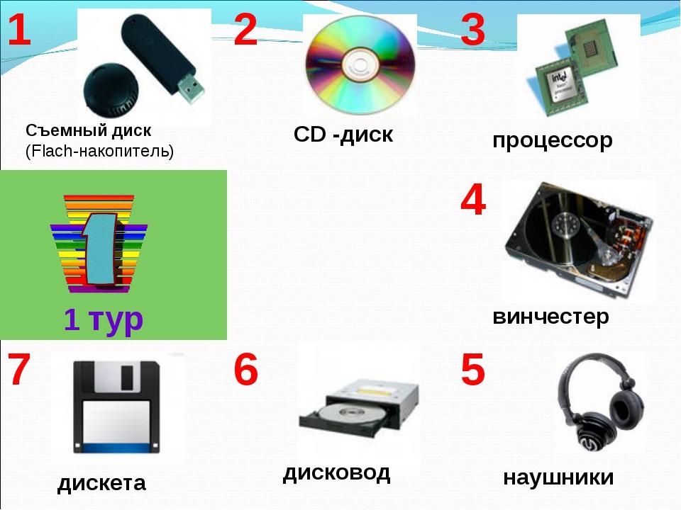 1 тур Съемный диск (Flach-накопитель) CD -диск наушники дисковод дискета винч...