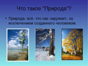 """Что такое """"Природа""""? Природа- всё, что нас окружает, за исключением созданно"""