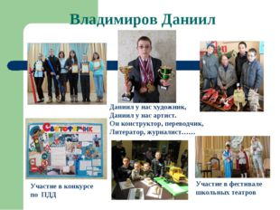Владимиров Даниил Участие в фестивале школьных театров Участие в конкурсе по