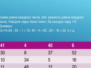 Сумма равна квадрату числа или разность равна квадрату числа. Найдите пары та