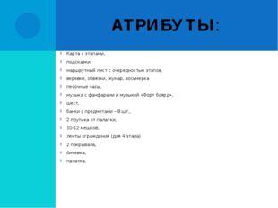 АТРИБУТЫ: Карта с этапами, подсказки, маршрутный лист с очередностью этапов,