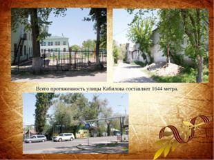 Всего протяженность улицы Кабилова составляет 1644 метра.