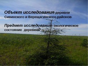 Объект исследования-деревни Сивинского и Верещагинского районов Предмет иссле