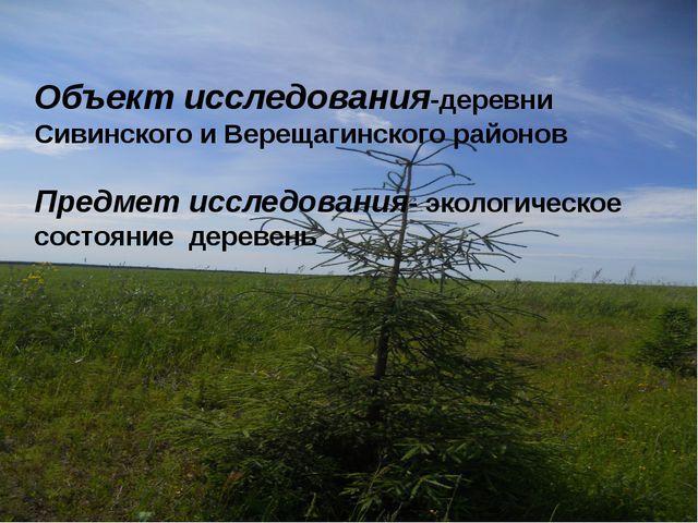 Объект исследования-деревни Сивинского и Верещагинского районов Предмет иссле...