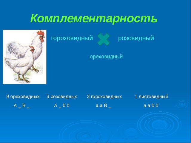 Комплементарность гороховидный розовидный ореховидный 9 ореховидных 3 розовид...