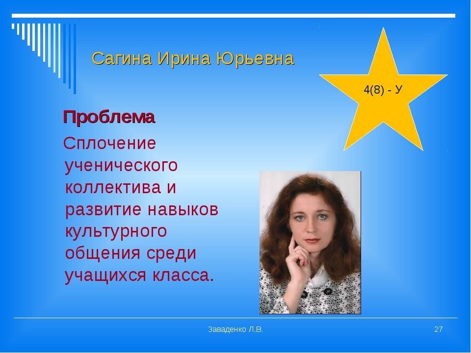 Сагина Ирина Юрьевна Проблема Сплочение ученического коллектива и развитие на...