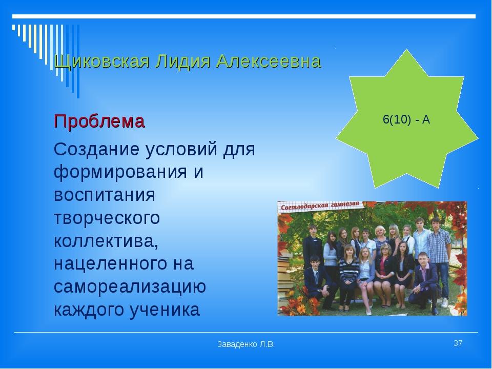 Щиковская Лидия Алексеевна Проблема Создание условий для формирования и воспи...