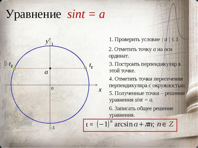 Уравнение sint = a 0 x y 2. Отметить точку а на оси ординат. 3. Построить пер...