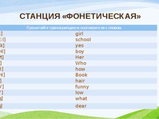 СТАНЦИЯ «ФОНЕТИЧЕСКАЯ» Прочитайте транскрипцию и соотнесите ее с словом. [hE: