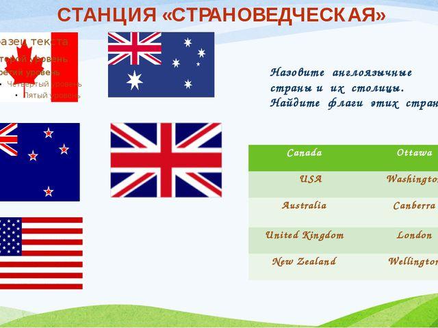 Назовите англоязычные страны и их столицы. Найдите флаги этих стран. СТАНЦИЯ...