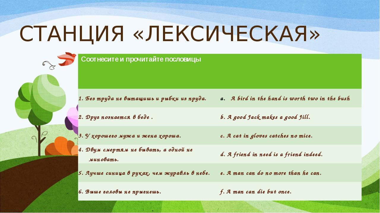 СТАНЦИЯ «ЛЕКСИЧЕСКАЯ» Соотнесите и прочитайте пословицы 1.Безтруда не вытащиш...