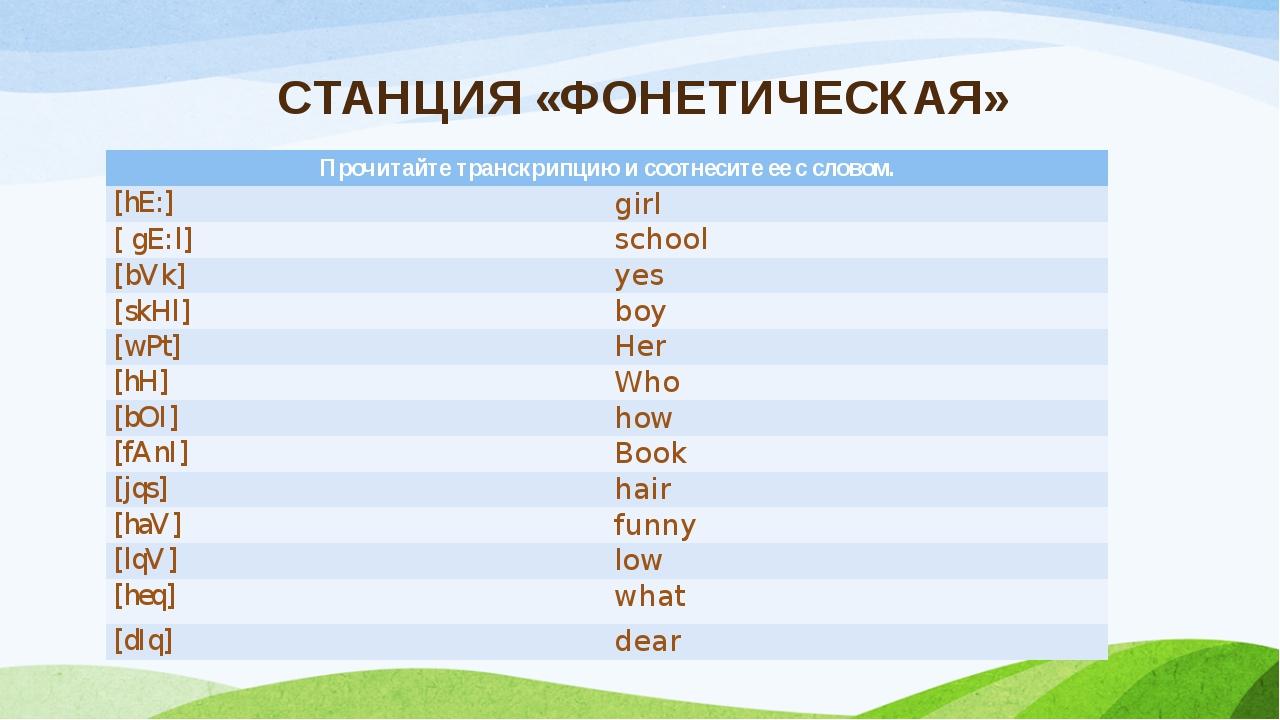 СТАНЦИЯ «ФОНЕТИЧЕСКАЯ» Прочитайте транскрипцию и соотнесите ее с словом. [hE:...
