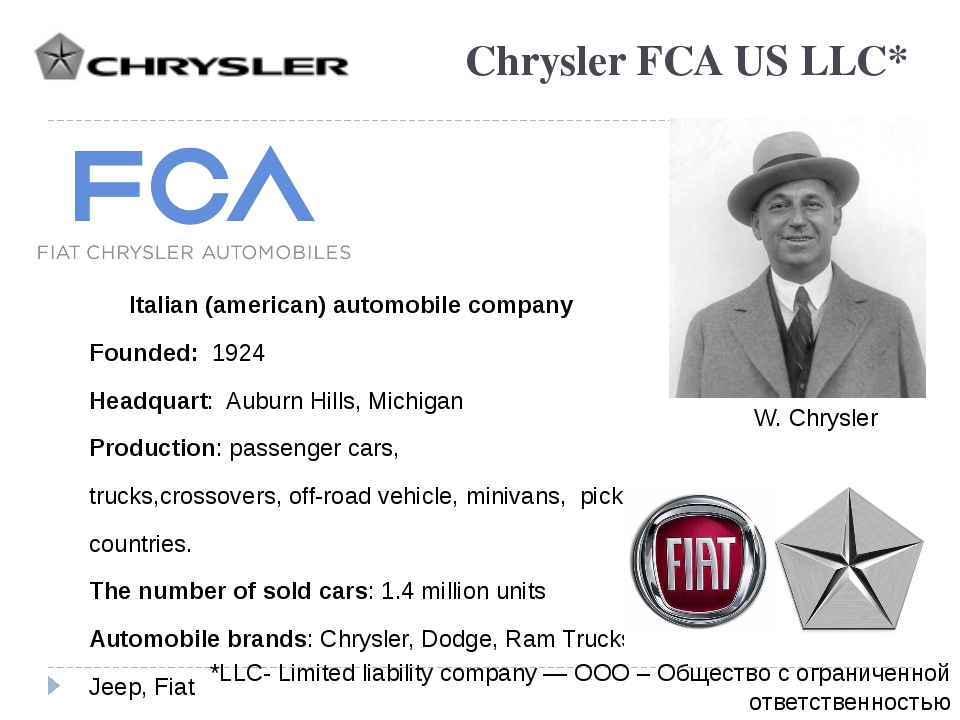 Chrysler FCA US LLC* Italian (american) automobile company Founded: 1924 Head...