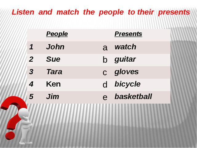 Listen and match the people to their presents People Presents 1 John a watch...