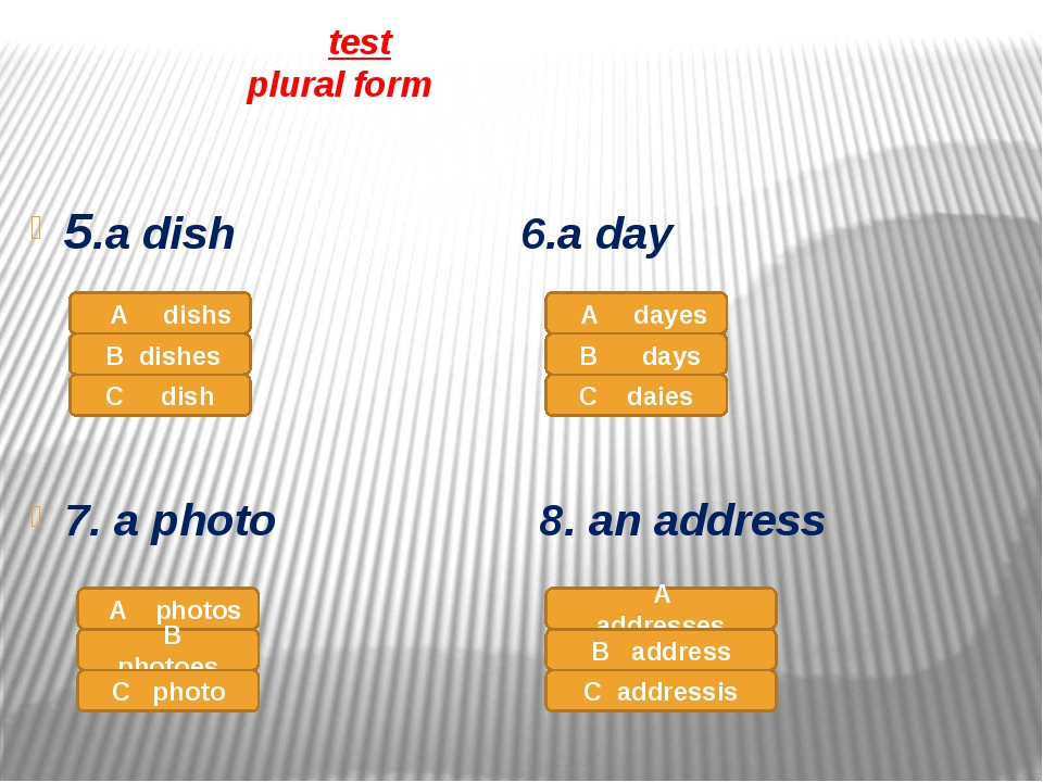 test plural form 5.a dish 6.a day 7. a photo 8. an address A dishs B dishes...