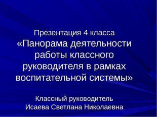 Презентация 4 класса «Панорама деятельности работы классного руководителя в
