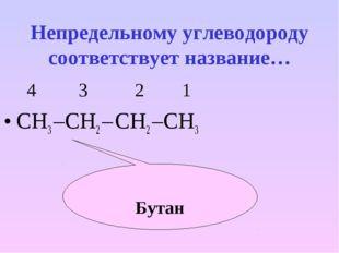 Бутан Непредельному углеводороду соответствует название… 4 3 2 1 СН3 –СН2 – С