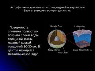 Астрофизики предполагают ,что под ледяной поверхностью Европы возможны услови