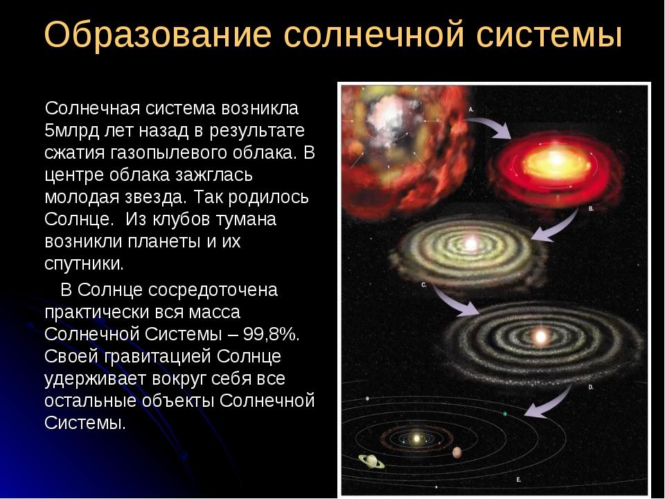 Образование солнечной системы Солнечная система возникла 5млрд лет назад в ре...