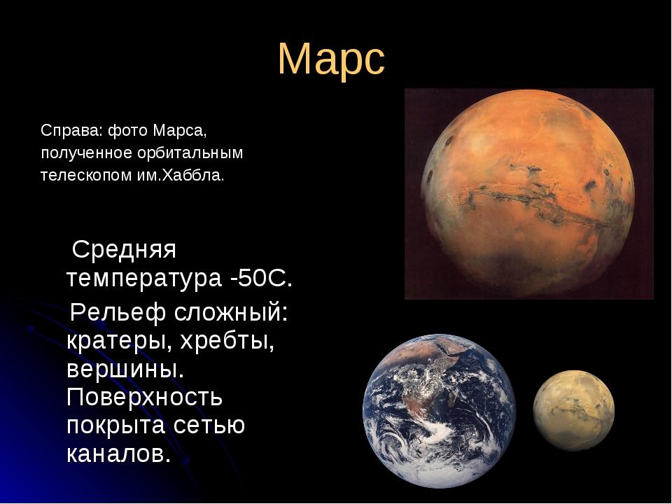 Марс Справа: фото Марса, полученное орбитальным телескопом им.Хаббла. Средняя...