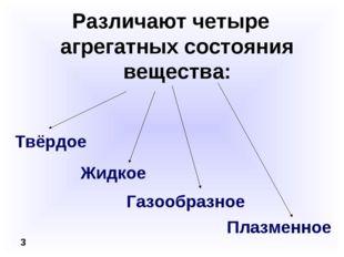 Различают четыре агрегатных состояния вещества: 3 Жидкое Твёрдое Газообразное