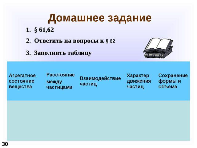 Домашнее задание § 61,62 Ответить на вопросы к § 62 Заполнить таблицу 30 Агр...