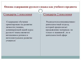 Основа содержания русского языка как учебного предмета Стандарты 1 поколения