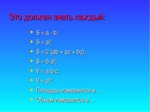 Это должен знать каждый: S = a · b; S = a²; S = 2 (ab + ac + bc); S = 6 a²; V