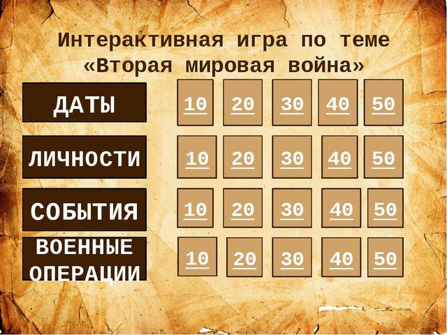 Даты (20) Назовите точную дату начала Второй мировой войны? Ответ: 1 сентября...