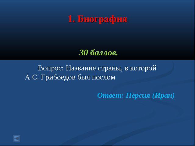 1. Биография 30 баллов. Вопрос: Название страны, в которой А.С. Грибоедов бы...