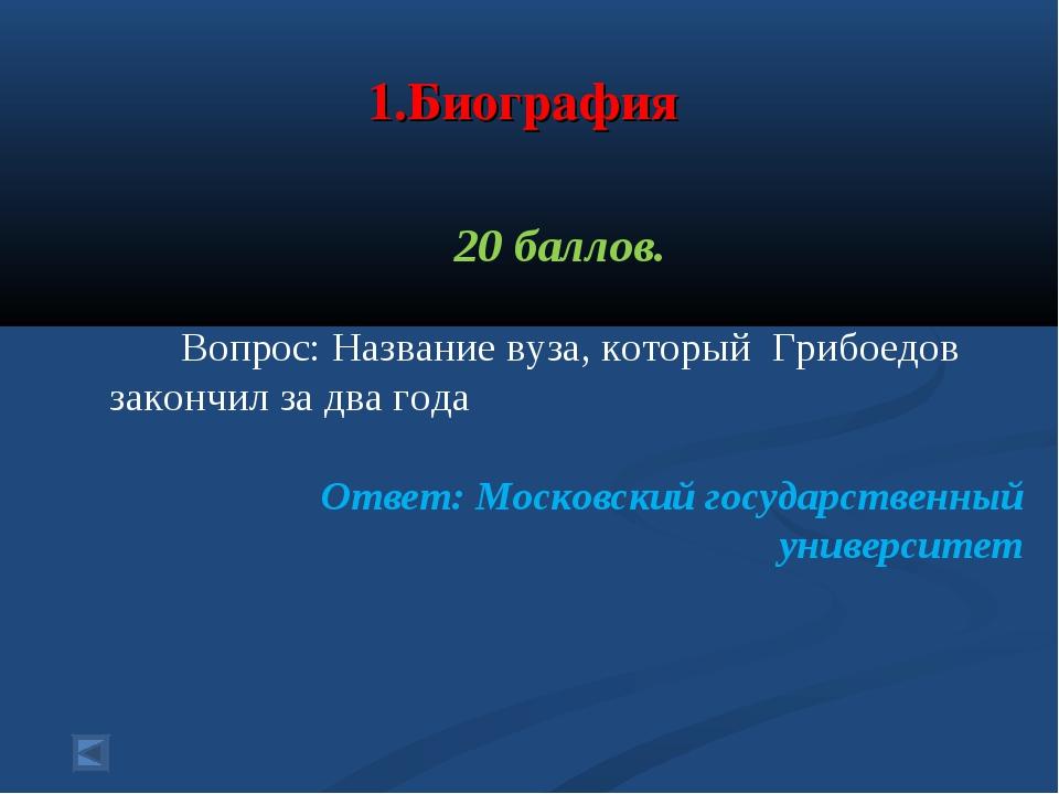 1.Биография 20 баллов. Вопрос: Название вуза, который Грибоедов закончил за...