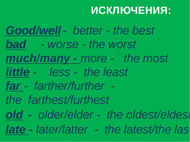 ИСКЛЮЧЕНИЯ: Good/well	- better - the best	 bad	 - worse - the worst	 much/ma...