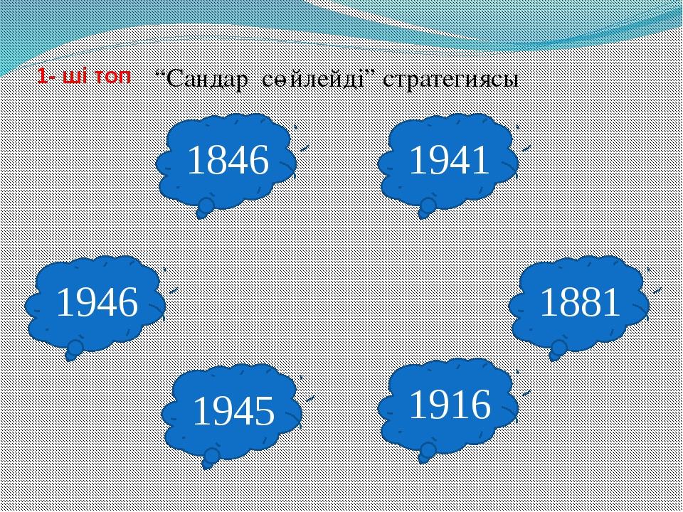 """""""Сандар сөйлейді"""" стратегиясы 1846 1945 1916 1946 1881 1941 1- ші топ"""