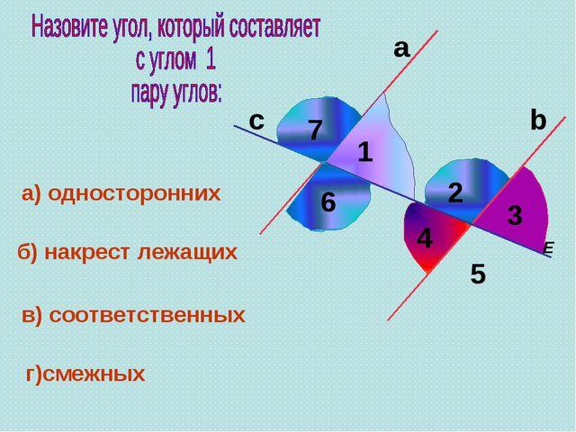 а 4 E 5 1 с а) односторонних b б) накрест лежащих в) соответственных 3 2 г)см...