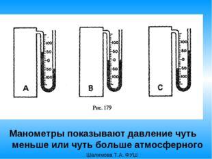 Манометры показывают давление чуть меньше или чуть больше атмосферного Шалимо