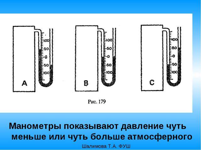 Манометры показывают давление чуть меньше или чуть больше атмосферного Шалимо...