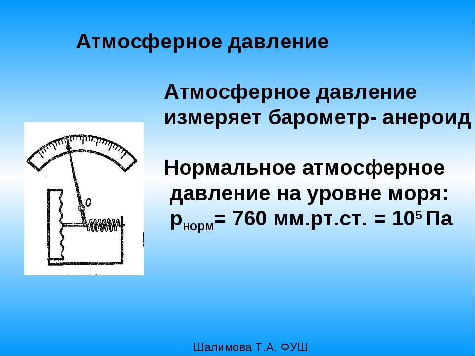 Атмосферное давление Атмосферное давление измеряет барометр- анероид Нормаль...
