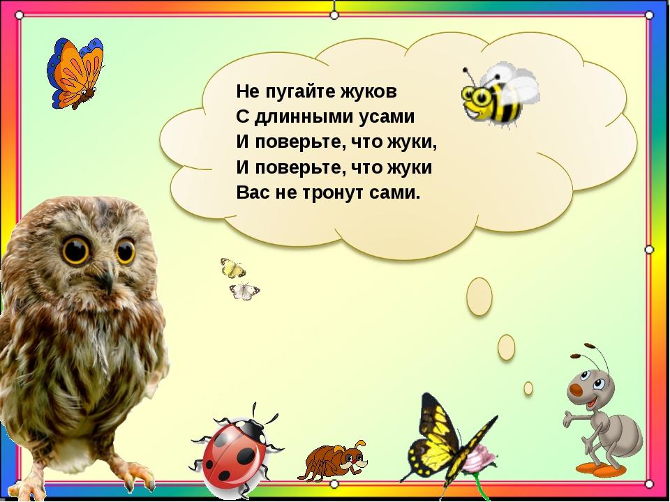 Не пугайте жуков С длинными усами И поверьте, что жуки, И поверьте, что жуки...
