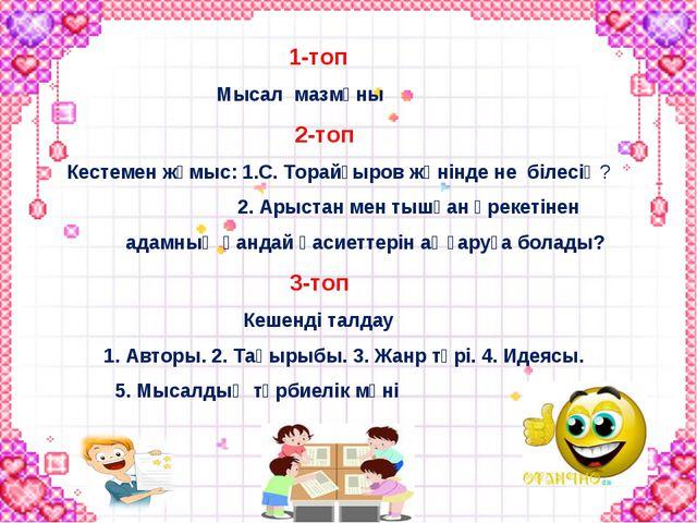 1-топ Мысал мазмұны 2-топ Кестемен жұмыс: 1.С. Торайғыров жөнінде не білесің...