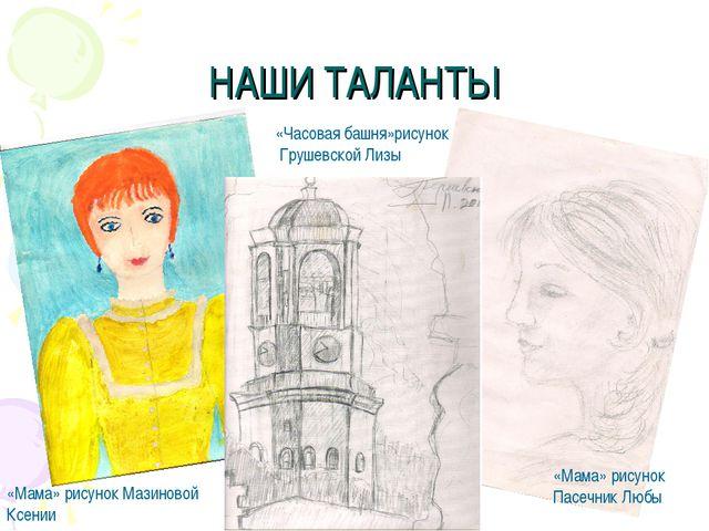 НАШИ ТАЛАНТЫ «Мама» рисунок Мазиновой Ксении «Мама» рисунок Пасечник Любы «Ча...