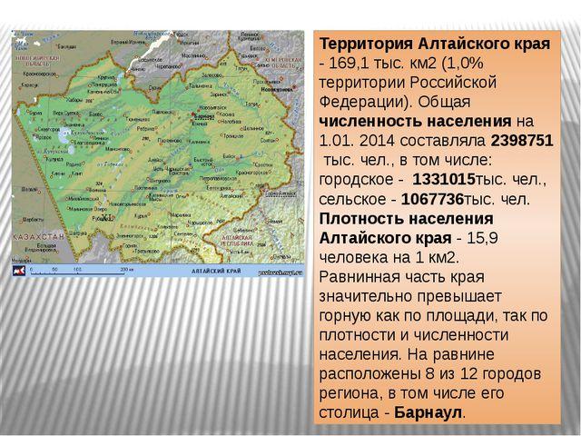 Территория Алтайского края - 169,1 тыс. км2 (1,0% территории Российской Федер...
