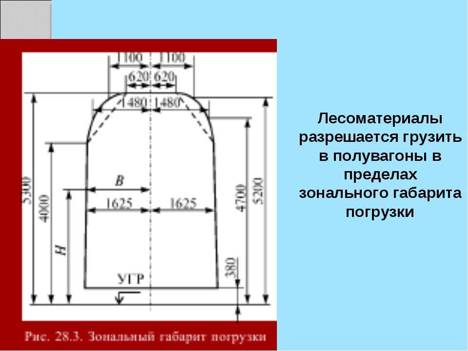 Лесоматериалы разрешается грузить в полувагоны в пределах зонального габарита...