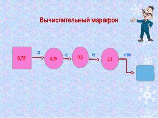 Вычислительный марафон 0,75 0,25 0,5 2,5 :3 •2 •5 •100