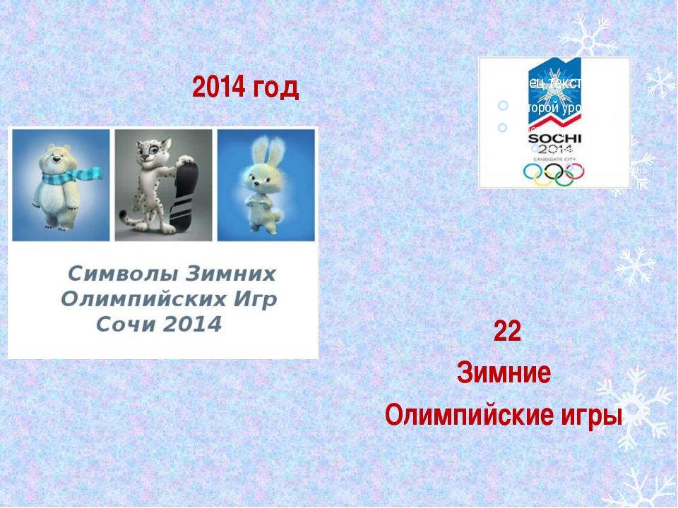 2014 год 22 Зимние Олимпийские игры